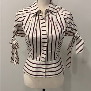 RED/White/Blue striped blouse with puffed sleeves